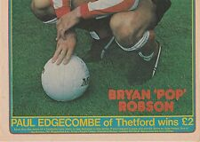 "BRYAN ""POP"" ROBSON SUNDERLAND 1974-1984 ORIG SIGNED DOUBLE PAGE MAGAZINE PICTURE"