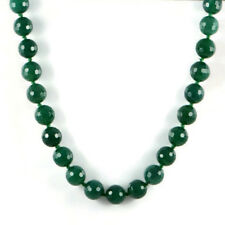 """Semi-Precious Gemstone 14mm Faceted Green Agate Beads 20"""" Knotted Necklace"""