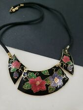 "Estate Vintage Cloisonne Collar Necklace 18""L"