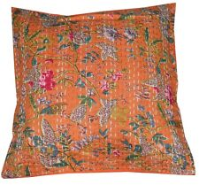 16'' CUSHION COVER PILLOW CASE KANTHA WORK FLORAL ETHNIC THROW DECOR ART