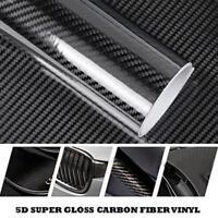 Glossy Black 5D Carbon Fiber Vinyl Film Bubble Free Car DIY Sticker Decal Wrap