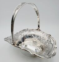 Antique Lebkuecher & Co, Newark NJ Sterling Silver Swing Handle Etched Basket