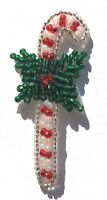 Lot of 4 Vintage 1980's Christmas Candy Cane Beaded Applique Sew On Craft Patch