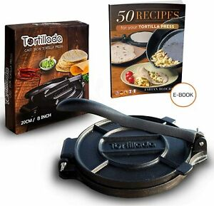 Tortilla Press Cast Iron / Roti Press / Chapati Maker + Recipes by Tortillada