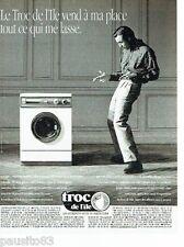 PUBLICITE ADVERTISING 126  1991  Magasin depot-vente Troc de l'Ile  machine lave