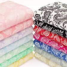 Cotton Fabric FQ Classic Paisley Flower Bandana Vintage Retro Scarf Napkin VK55