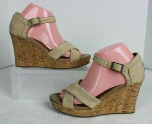 TOMS Siena Beige Cork Wedge Platform Strappy Heels Tan Natural Womens Sz 8 GUC