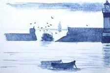 carte postale art naif breton peinture aquarelle Bretagne bleue Lot de 6 marine