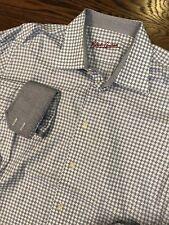 Men's Robert Graham Button Front L/S Shirt Sz 44 17.5 Flip Cuff