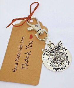 St Christopher & Guardian Angel swivel keyring, bag Charm purse Teacher Gift