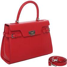 Ledertasche PARIS rot/ Delphinprägung Tasche mit Handgriff+Riemen Lederfutter