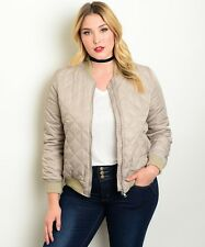 Women's Bomber Jacket Plus 1XL Wholesale Fashion Square Quilted Taupe