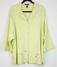 Club Z Collection Blouse Womens Plus Size 3X Button Down Linen Floral 3/4 Sleeve