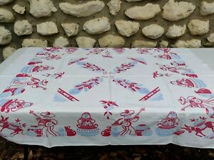 Vintage Printed Table Cloth Red Blue Mariachi Band Men Women Measures 50x44