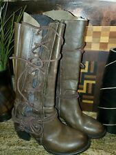 SZ 10 FREEBIRD BY STEVEN CASH BROWN DISTRESSED CORSET LACE UP BOOT Worn 5 times
