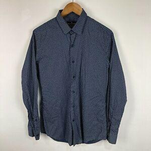 Jack London Mens Button Up Shirt Medium Blue Polka Dots Long Sleeve Collared