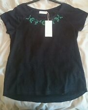 M & S per una ladies top blue with green flowers size 10 bnwt