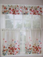 Living Colors Maggie Kitchen Tier & Valance 3-Piece Set ~ Beautiful Poppy Floral