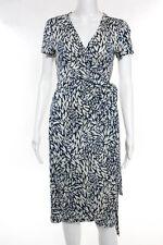 Diane Von Furstenberg Blue Silk Printed Short Sleeve Wrap Dress Size Small