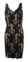 Adrianna Papell Women's Deep V-Neck Lace Sheath Dress
