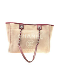 Chanel A67011 Mediano Deauville Rosa Lona & Leather Tote Bag