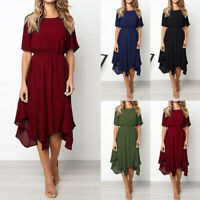 Women Casual Short Sleeve O Neck Knee Length Dress Evening Party Dress US Stock
