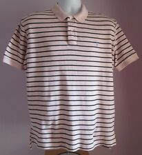 VTG Mens RALPH LAUREN POLO Pink/Blue Stripe Collared Shortsleeved Shirt Size M/L