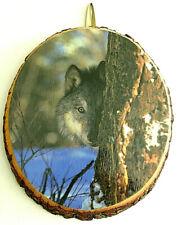 "Tree Slice Art Wolf and Tree 7.5"" X 9"""