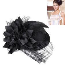 Frauen blumengeschmueckten Haarspange Feder Burlesque Punk Mini Spitze Hut H8U2