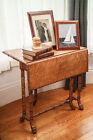 Stunning Victorian Birdseye Maple Chinoiserie Bamboo Tuck Away Antique Table