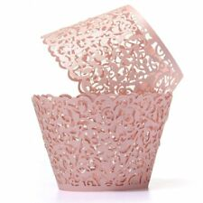 12X Filigree Vine Cake Cupcake Wrappers Wraps Cases Pink F6