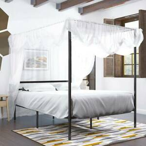 YITAHOME Metal Platform Canopy Bed Frame Mattress Foundation Bedroom Queen Size