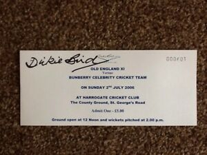 Cricket Ticket Signed By Dickie Bird