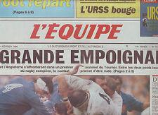 journal  l'équipe du 03/02/90 RUGBY TOURNOI AVANT FRANCE ANGLETERRE * LECONTE