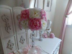 SHABBY COTTAGE CHIC POTTERY BARN  KIDS PINK & CREAM FLORAL LAMP SHADE ONLY