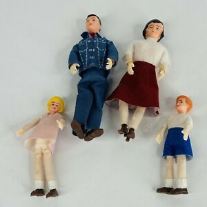Marx Family Dolls 4 Bendable Dolls Vintage Father Mother Brother Sister