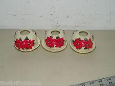 3 Porcelain Poinsettia Candle Votive Holder China 17314 Tea Light Lite Holders