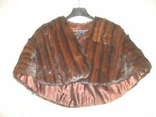 Vintage Ladies' FUR CAPE Wrap Stole  - Mink or Muskrat - Dark Brown/Mahogany