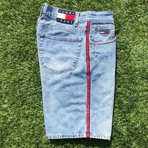 VTG 90s Tommy Hilfiger Side Ribbon Spellout Flag Denim Jean Shorts 34