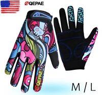 Qepae Full Finger Cycling Gloves Women's Gel Padded Bike Bicycle MTB Glove M/L