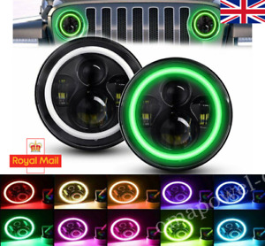 Pair 7'' LED Headlights Halo MULTICOLOUR RGB Lamp Combo KIT For Jeep Defender