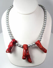 """Vintage Faux Red Coral Chunky Branch Mid Century Necklace Silver Glass Beads 18"""""""