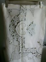 "Vintage Linen Hand Embroidered Madeira Work Tablecloth + 8 Napkins, 88""x68"""