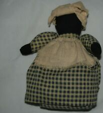 Vintage Primitive Weighted Cloth Rag Doll Blue White Dress Head Scarf Apron