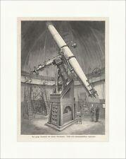 Der große Refraktor der wiener Sternwarte Astronomie Teleskop Holzstich E 13756