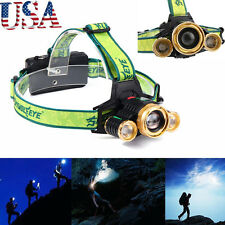 60000LM Tactical LED Headlamp Headlight Lamp  T6 3Modes Zoom Torch 18650 US