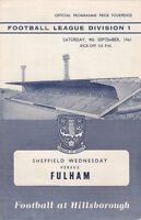 Sheffield Wednesday v Fulham 1961/2