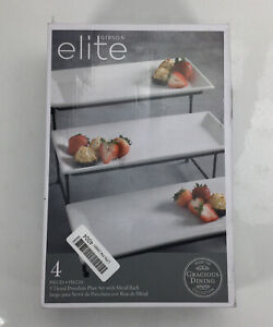 Elite Gibson 4 Pcs 3 Tiered Porcelain Plate Set with Metal Rack