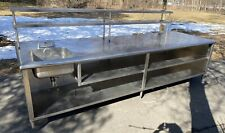 Huge 44 X 144 Stainless Steel Worktop Island Table With Sink Cabinet Shelves