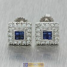 Vintage Estate 18k Solid White Gold .50ctw Diamond .40ctw Sapphire Stud Earrings